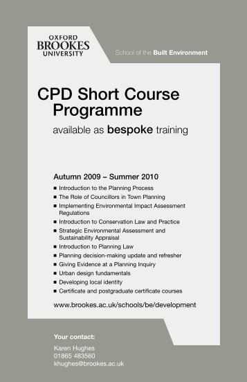 CPD Short Course Programme - Department of Planning - Oxford ...