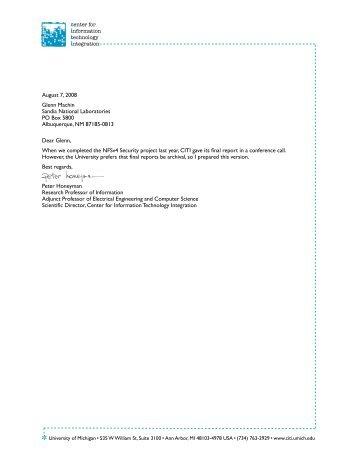 August 7, 2008 Glenn Machin Sandia National Laboratories PO Box ...