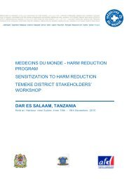 harm reduction program sensitization to harm reduction (tanzanie)