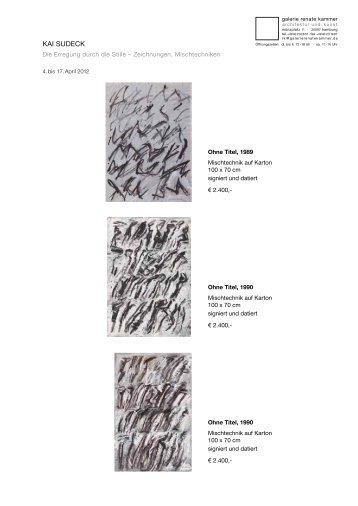 Preisliste/price list - Galerie Renate Kammer, Architektur und Kunst