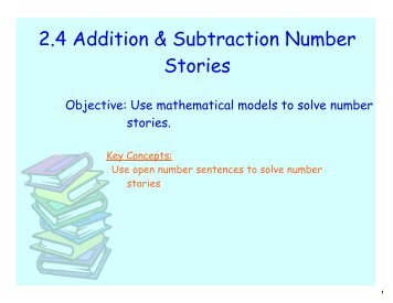 2.4 Addition & Subtraction Number Stories - Beachwood City Schools
