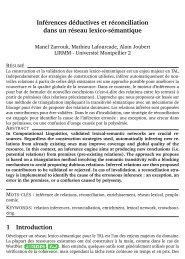Inférences déductives et réconciliation dans un réseau lexico ...