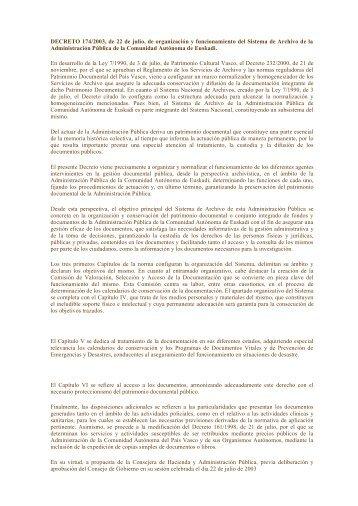 DECRETO 174/2003, de 22 de julio, de organización y ...
