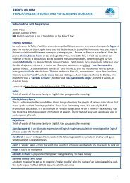French/English synopses and pre-screening worksheet - Routes Into ...