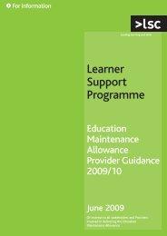 Education Maintenance Allowance Provider Guidance 2009/10