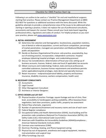 Checklist for OMS Practice Start Up - American Association of Oral ...