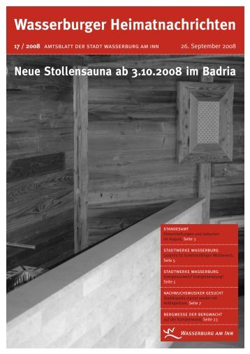 Wasserburger Heimatnachrichten 17 / 2008 - Wasserburg am Inn!