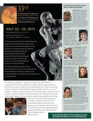 33rd Annual International Conference Flyer - The Critical Thinking ...