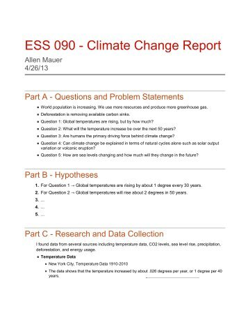 ESS 090 - Climate Change Report