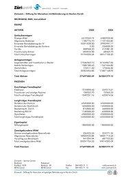 Ergänzender Detailbericht zur Jahresrechnung 2005 - Züriwerk