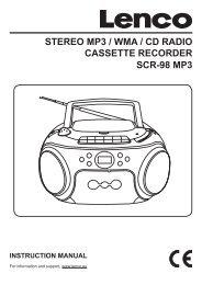 STEREO MP3 / WMA / CD RADIO CASSETTE RECORDER ... - Lenco
