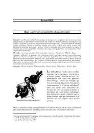 Bernard BEL Raga : approches conceptuelles et expérimentales