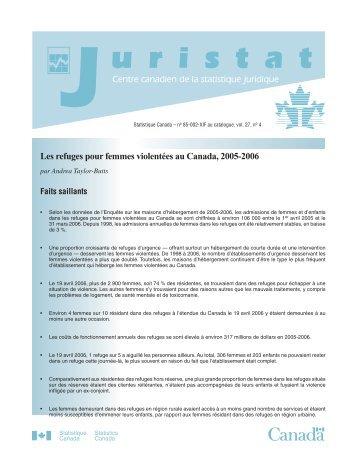 Les refuges pour femmes violentées au Canada, 2005-2006