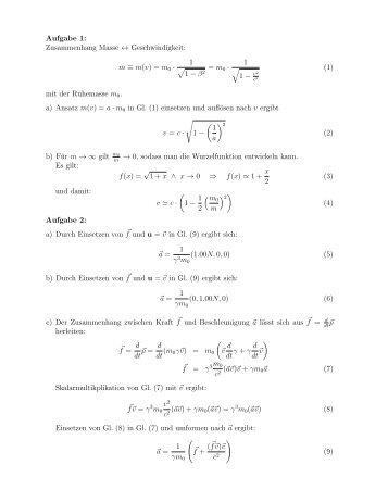 Aufgabe 1: Zusammenhang Masse ↔ Geschwindigkeit: m ≡ m (v ...