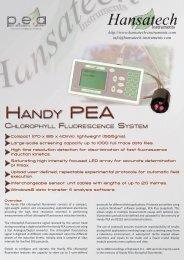 Handy PEa Handy PEa - Hansatech Instruments Limited