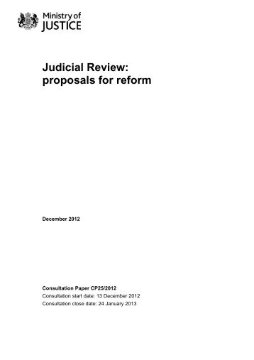 Judicial Review: proposals for reform - Ministry of Justice