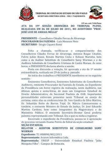 1 ata da 19ª sessão ordinária do tribunal pleno, realizada em 06 de ...
