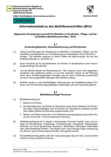 Informationsblatt zu den Beihilfevorschriften (BhV)