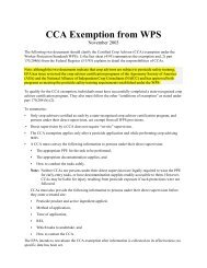 CCA Exemption from WPS