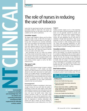 The role of nurses in reducing the use of tobacco - Nursing Times