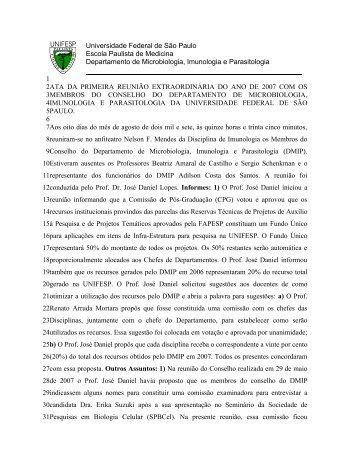 Reunião DMIP - Departamento de Microbiologia, Imunologia e ...