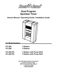 Rain Bird PC-200 Series Rain Clock Owner's Manual - Irrigation Direct