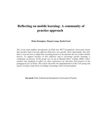 Reflecting on mobile learning: A community of practice approach
