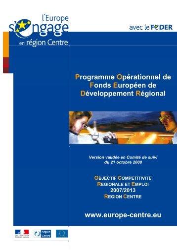 Le Programme opérationnel FEDER Centre - L'Europe s'engage en ...