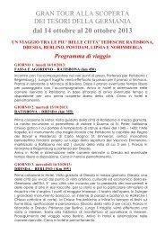 dal 14 ottobre al 20 ottobre 2013 UN VIAGGIO TRA LE PIU' BELLE ...