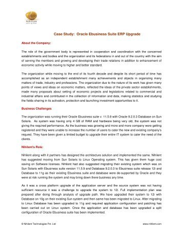 oracle case study erp Journal of computing and information technology 1 erp system implementation and business process change: case study of a pharmaceutical company.