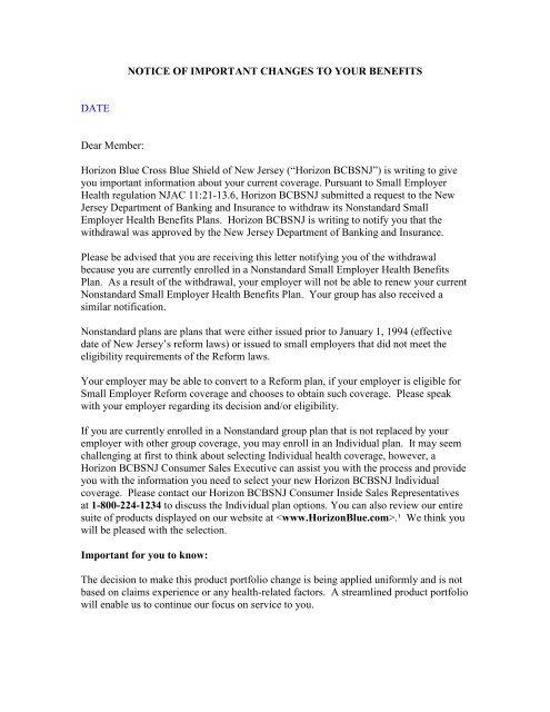 "Horizon Blue Cross Blue Shield of New Jersey (""Horizon BCBSNJ y"