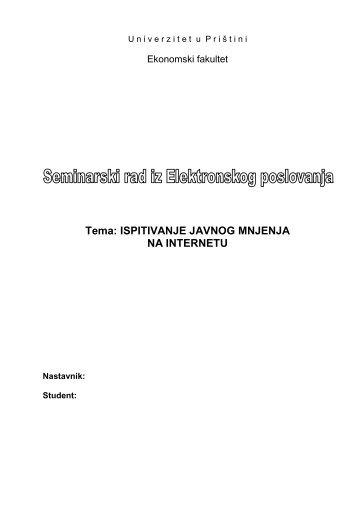 Elektronsko poslovanje 2 - Seminarski Maturski Diplomski Radovi