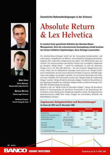 Absolute return & Lex Helvetica – Gesetzliche ... - Schweiz