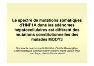 Le spectre de mutations somatiques d'HNF1A dans les ... - Afef