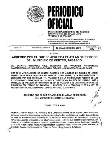 Atlas de riesgo Periódico Oficial - H. Ayuntamiento de Centro