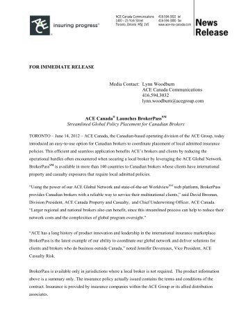 FOR IMMEDIATE RELEASE Media Contact: Lynn ... - ACE Group