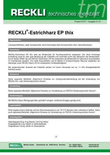 07371 Estrichharz EP thix - RECKLI GmbH: Home