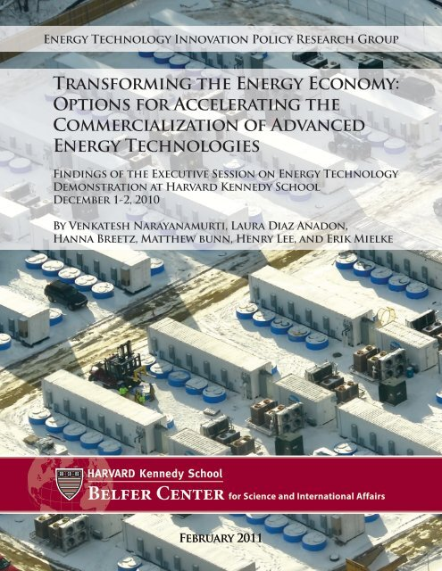 Transforming the Energy Economy - Belfer Center for Science and ...