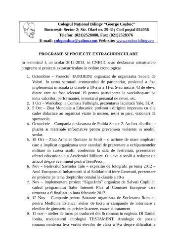 Raport de activitate - Programe si Proiecte 2012-2013.pdf - Colegiul ...