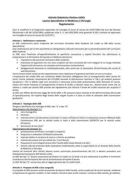 Calendario Ade Unina.Attivita Didattiche Elettive Ade Laurea Specialistica In