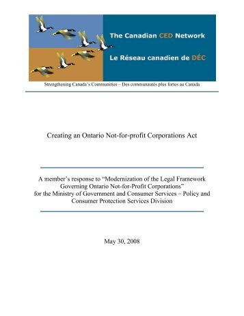 Creating an Ontario Not-for-profit Corporations Act - The Canadian ...