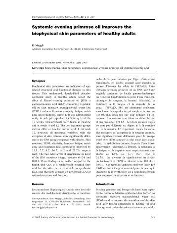 Systemic evening primrose oil improves the biophysical skin ...
