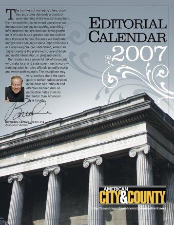 EDITORIAL CALENDAR - American City & County Magazine