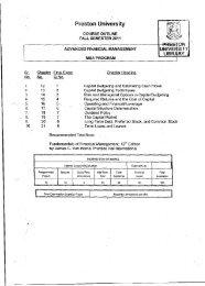 Advanced Financial Management - Preston University