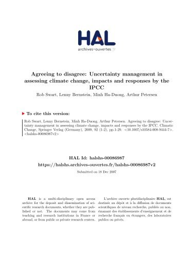 Agreeing to disagree: Uncertainty management in assessing climate ...