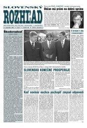 SlovenSko konečne proSperuje - Slovenský rozhľad