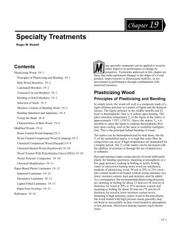Wood Handbook--Chapter 19--Specialty Treatments - Woodweb