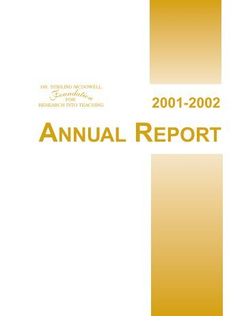 2001-2002 Annual Report - Dr. Stirling McDowell Foundation for ...