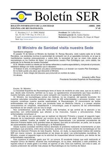 El Ministro de Sanidad visita nuestra Sede - Sociedad Española de ...