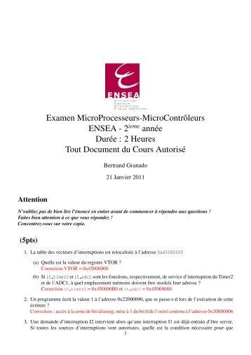 Examen MicroProcesseurs-MicroContrˆoleurs ENSEA - 2 année ...